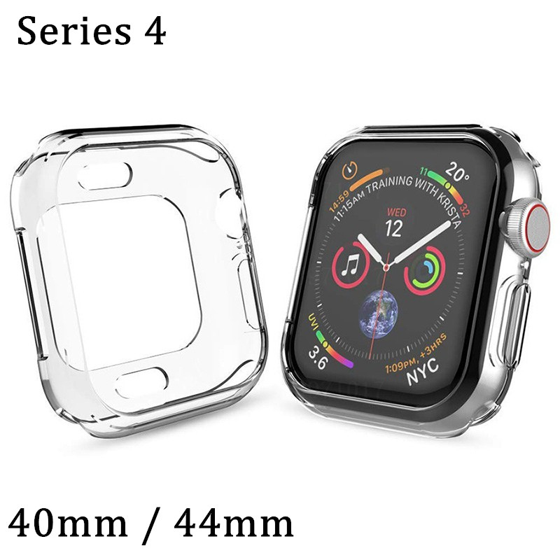 Watch Cover for Apple Watch 4 Case 44mm 30mm Series 4 Soft Slim TPU Ultra-thin Transparent Silicone Protective Watch Accessories protective silicone back case for iphone 5 transparent blue