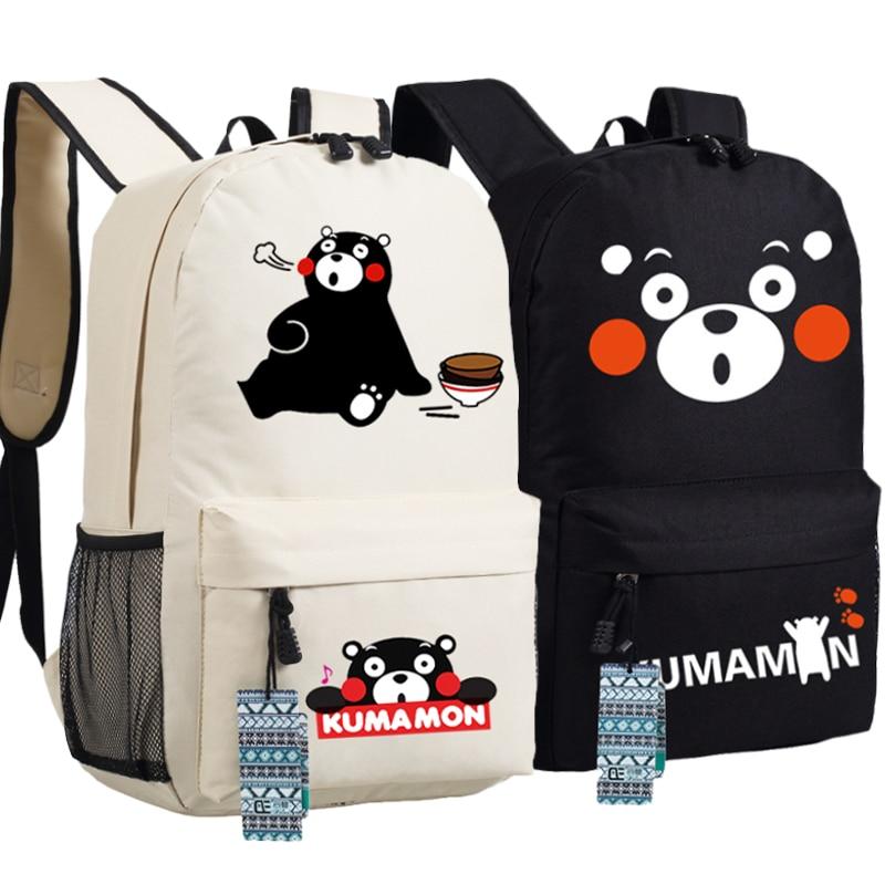 Anime Mascot KUMAMON Women Backpack Canvas Laptop Back Pack Mochila Kawaii Bagpack School Bags Harajuku Cartoon Bookbag