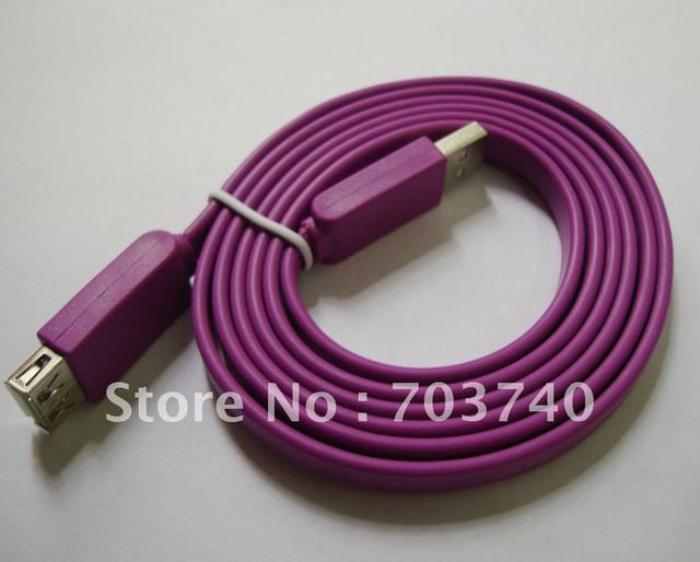 free shipping 50pcs/lot 1.5M Flat Slim High Speed USB 2.0 Extension Cable A Male to A Female Cord AM/AF