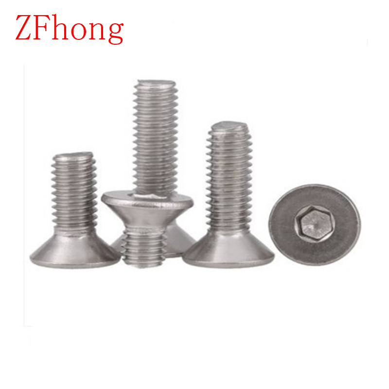 100pcs Allen Key Head DIN7991 M2 M2.5 M3 M4 Stainless steel 304  hex socket countersunk head screw din912 304 stainless steel screw hex socket smooth cup head cylindrical head three combination m2 5 m3 m4 m5 m6 screw washer