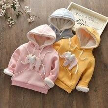 Girls thicker sweater plus velvet new autumn and winter children hooded jacket children's clothing children's warm jacket