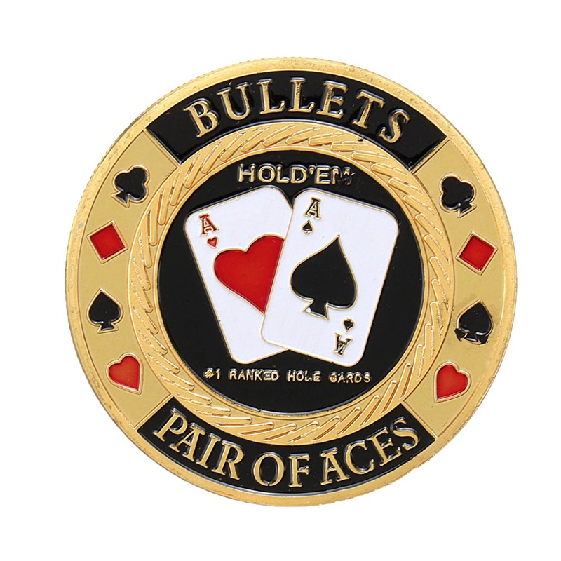 Metal Poker Chip Guard Card Protector Coin Pair Of Aces Gold Plated With Round Plastic Case Metal Craft Poker Chips Poker Game Making Things Convenient For Customers
