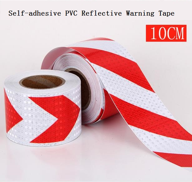 10CM*45.7M Road Traffic Construction Site Corridor Factory Workshop Floor Safety Warning Self-adhesive Twill Reflective Tape
