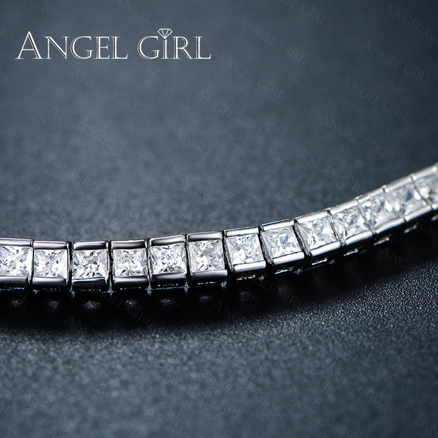 4mm CZ Diamond Elegant Square Bracelet White / Rose Gold/Gold / Black gun Plated