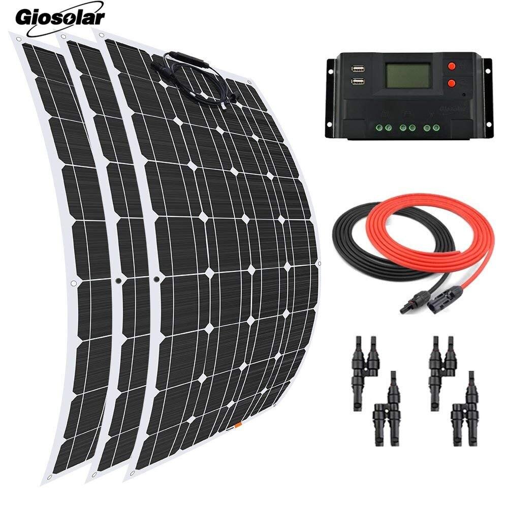 200 Watt 200W Solar Panel 20A PWM LCD USB Solar Controller RV Boat off Grid