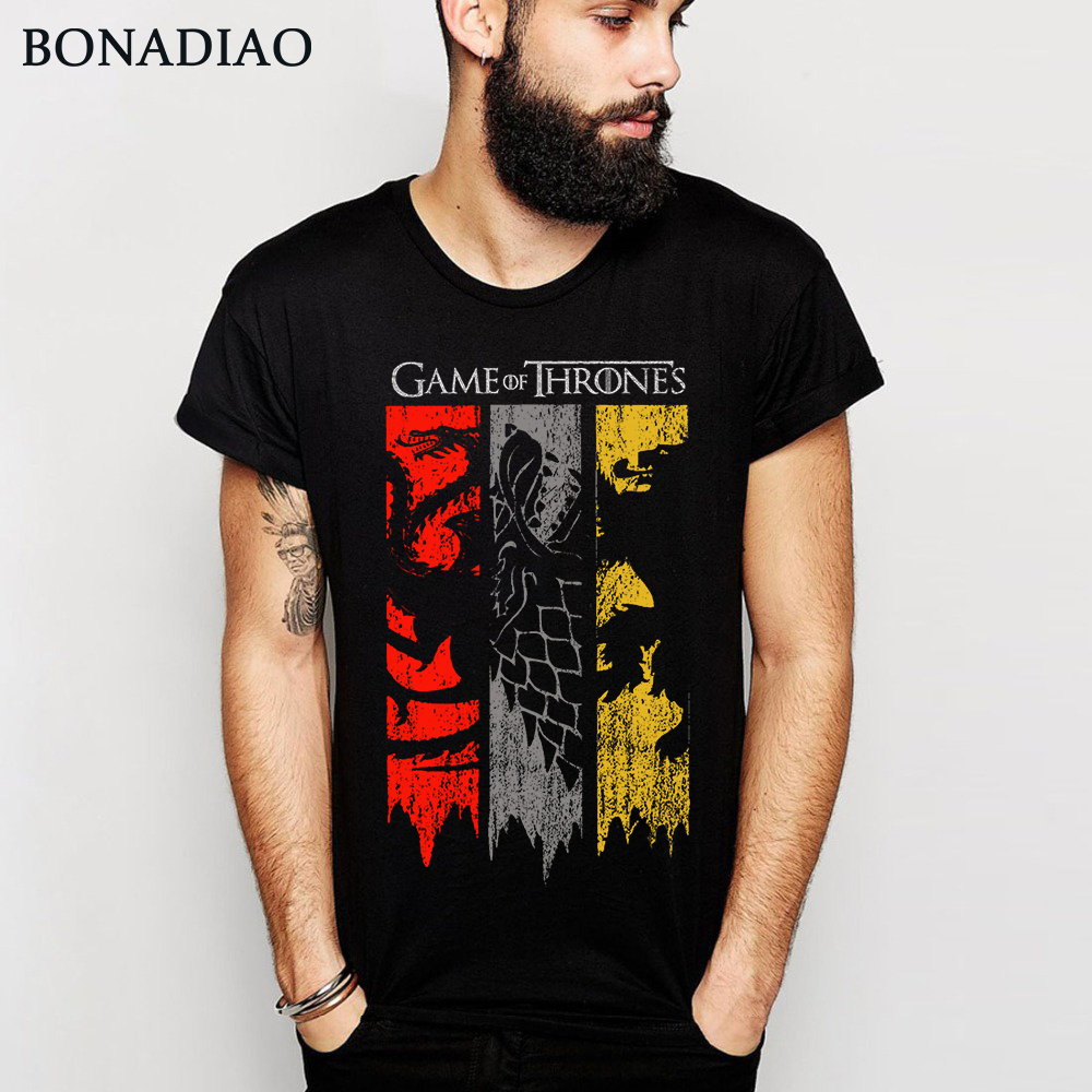 Popular TV Show House Targaryen Stark Lannister Game Of Thrones   T     Shirt   Man 100% Cotton Custom   T  -  Shirt