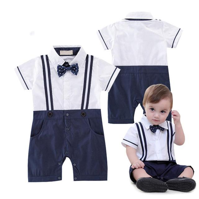 da6cca360 Baby Boy Gentleman Cotton Clothes Short Sleeve With Bow Tie And ...