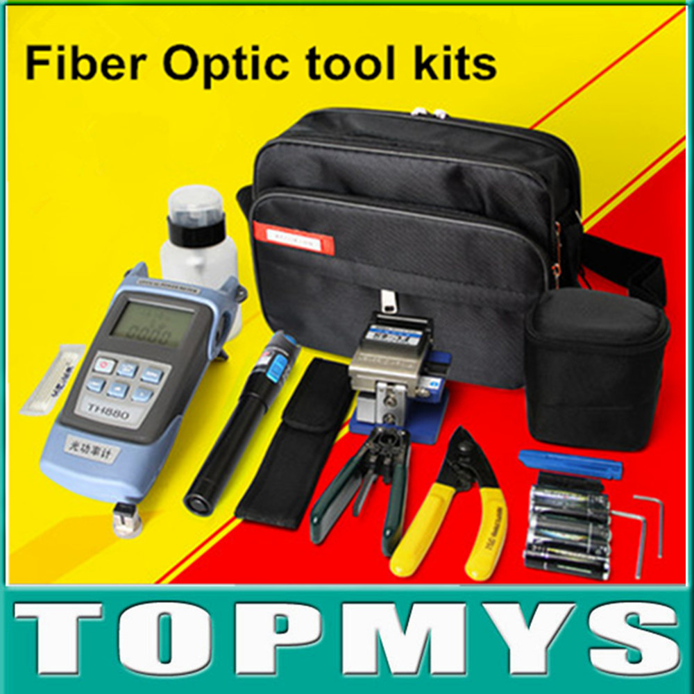 13 In 1 Fiber Optic FTTH Tool Kit with FC-6S Fiber Cleaver and Optical Power Meter 5km visual fault locator Wire stripper fiber end face meter handheld fiber optic microscope apc end face magnifier sc fc st diagnostic tool monocular zoom 400x 200x