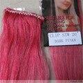 """Comércio 20 """" colorido cor de cabelo Remy clipes retas em extensões 5 g/pçs # rosa escuro"""