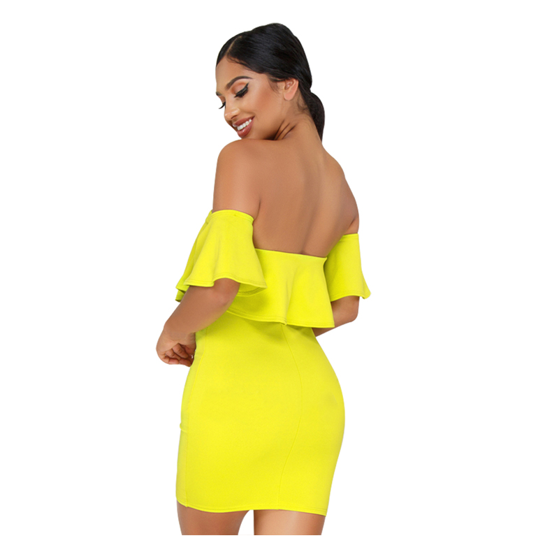 c811d9e00a Off The Shoulder Ruffle Mini Dress Club Party Short Lime Flared Short  Sleeves Tie Bodycon Dress-in Dresses from Women's Clothing on  Aliexpress.com | Alibaba ...