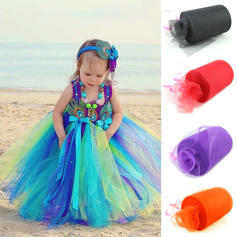 Envío rápido 26 colores elija 15 cm x 90 metros (6 pulgadas x 100 yarda) rollo de tul carrete tejido para Tutu DIY falda artesanal regalo fiesta arco