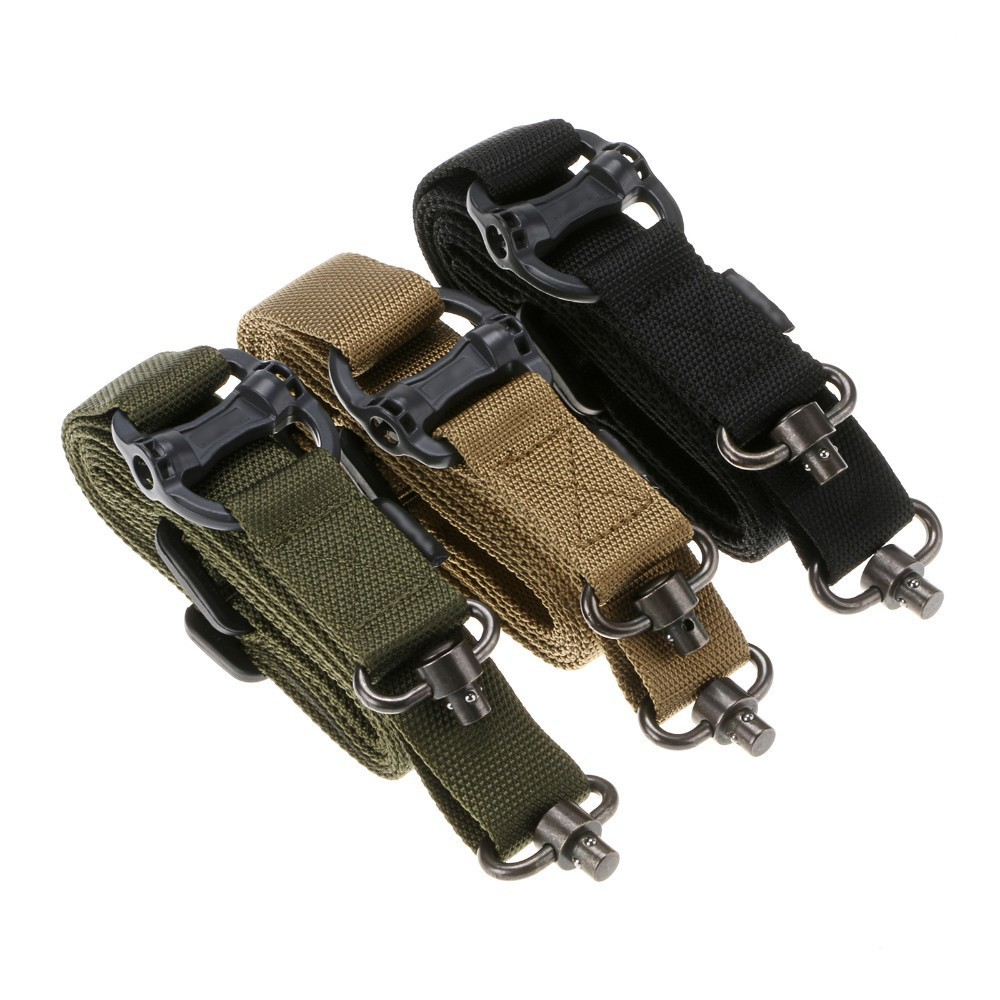 Adjustable Tactical 1//2 Single Two Point Sling For Bungee Rifle Gun Sling Strap
