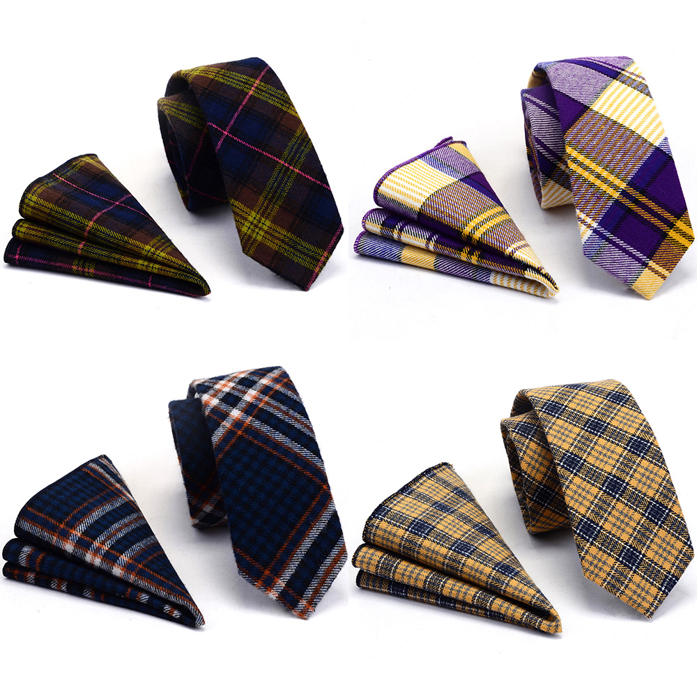 GUSLESON High Quality 2.4'' Cotton Slim Tie Plaid Cashmere Wool Ties Mens 6cm Necktie And Pocket Square Set Suit Party Wedding