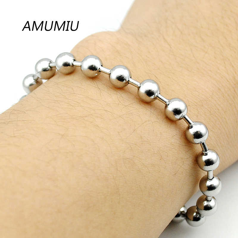 AMUMIU 2017 Biker Stainless Steel 6mm Beads Bracelets Jewelry Body Hand Chain Wholesale HZB059