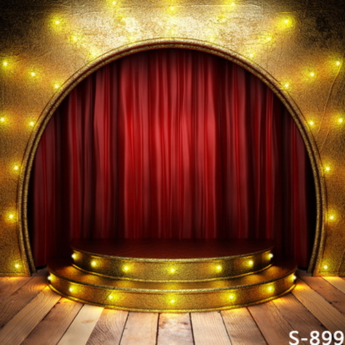 10x10FT Red Curtain Drape Arch Gold Golden Stage Steps Spots Light Custom Photography Backdrops Studio Background