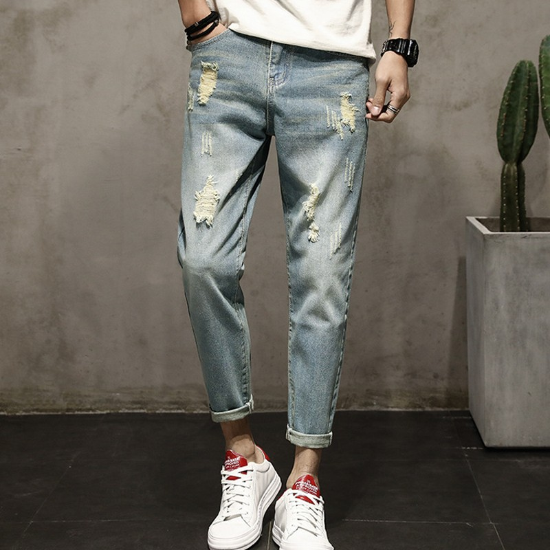 Spring Summer Men Ankle Length Jeans Washed Hole Ripped Boys Student Casual Fashion Slim ...