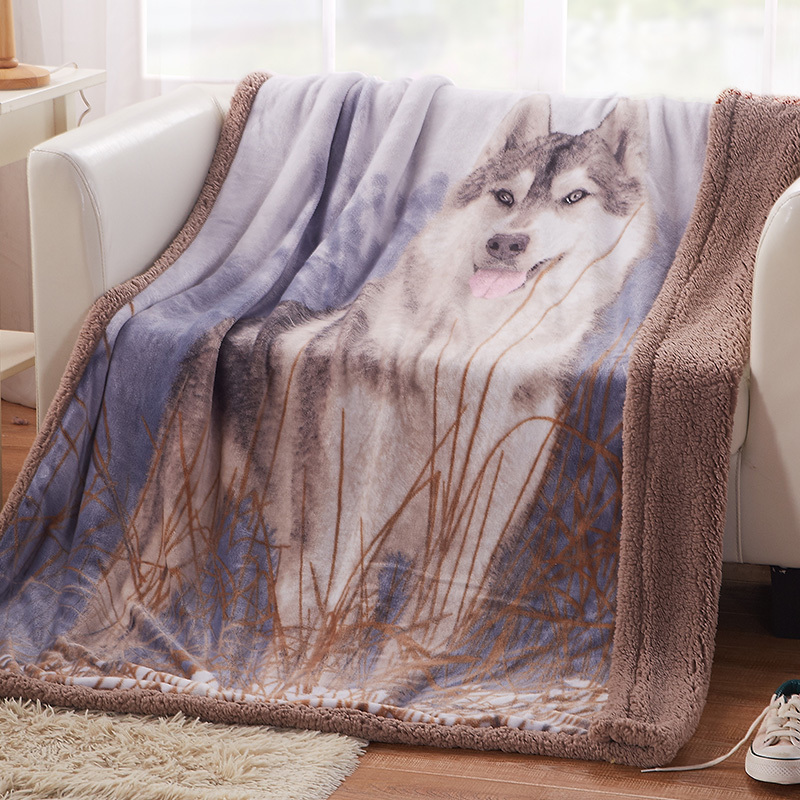 Arnigu Wolf Pattern Animal Print Double Face Throw