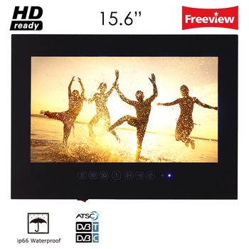 15.6' inch IP66 Bathroom LED TV Waterproof Wall Mount Water-Resistant LED TV for SPA (Black/White)