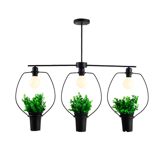 Three Green Leaves Holder Suspension Lamp Pendant Lighting Fixtures With Oil Rubbed Bronze Finish 110v