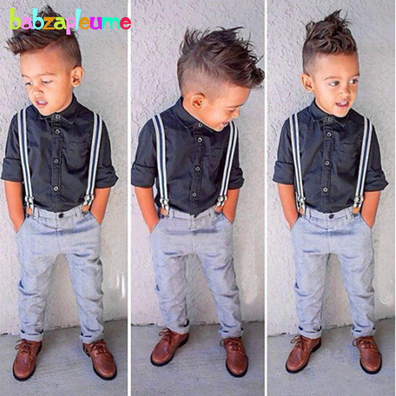 Spring Autumn Toddler Boy Clothes Gentleman Baby suits Long Sleeves Shirt+Pants Two-Piece Kids Boys Children Clothing Set BC1108 kimocat boy and girl high quality spring autumn children s cowboy suit version of the big boy cherry embroidery jeans two suits