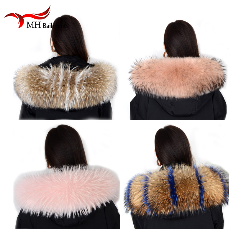 Real Natural Raccoon Fur Collar Winter Womens Coat Hooded Solid Scarves Solid Collar Raccoon Fur Removabl Neck Scarves L#80