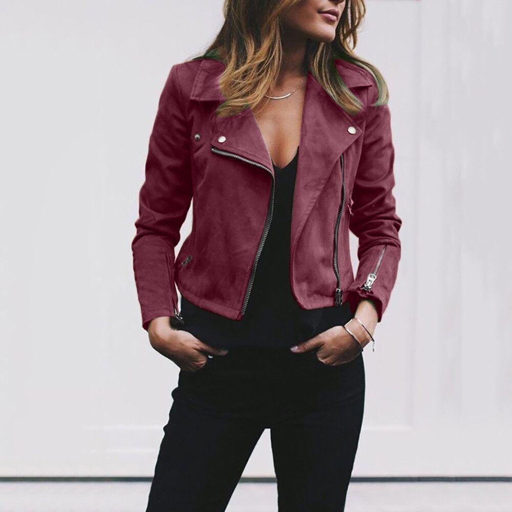 Frauen Wildleder Leder Jacke Fliegen Mantel Zipper Radfahren Casual Top Frauen Revers Kurze Jacke