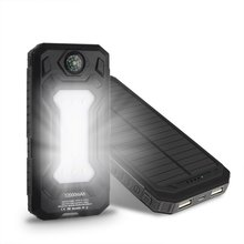 Wopow Solar power bank 20000 mah Mobile Phone Battery Dual USB Portable Charger Battery with LED Light&Compass for xiaomi iphone