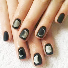 24Pcs Lunar Eclipse False Nail Tips With Design Matte Moon Shape Square Flat Fake Nails Frosted Japanese Style Press On