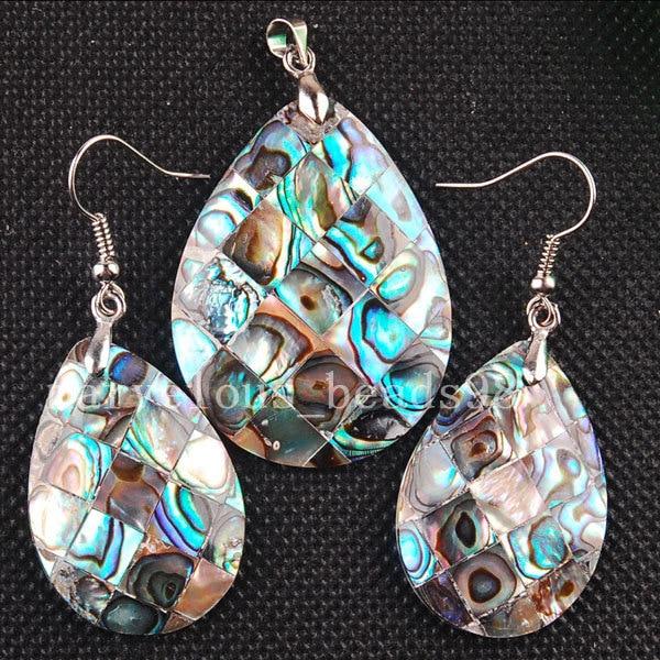 Versandkostenfrei Modeschmuck Neuseeland Abalone Muschel Wassertropfen Baumeln Ohrringe Anhänger Set Mc3253 Den Speichel Auffrischen Und Bereichern Brautschmuck Sets