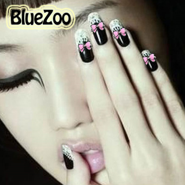 BlueZoo 100pcs/pack Pink Alloy Bow Tie Rhinestones Nail Art Decoration Glitters Slices 3D Nail Stud Beauty Tips