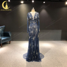 JIALINZEYI Real Image Luxurious Navy Blue Long Sleeves Beads Crystal Mermaid Backless Formal Dresses Evening Dress