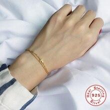 лучшая цена 925 Sterling Silver Bracelets for Women Fashion Jewelry Double Layer Beads Link Chain Cross Charm Bracelet Minimalist Girl Gifts