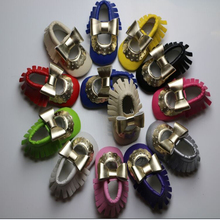 Handmade Soft Bottom Fashion Tassels Baby PU Bow Fringe Newborn Babies Shoes 2-colors PU leather Prewalkers Boots