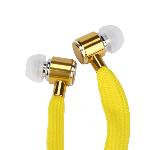 Newest  Universal 3.5mm Shoelace Stereo Earphone Handfree Featured Lace Earphone Fashion Multicolor Earphones With Mic Set26 Karachi