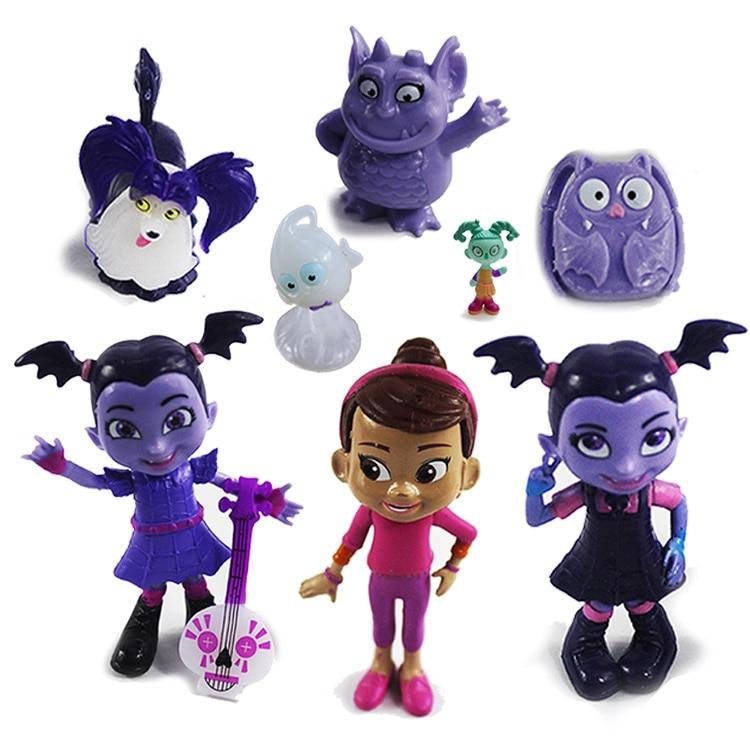 Free Shipping 9pcs/set Junior Vampirina The Vamp Bat woman Girl PVC Dolls Models Action Figures Toys Collectors For Children