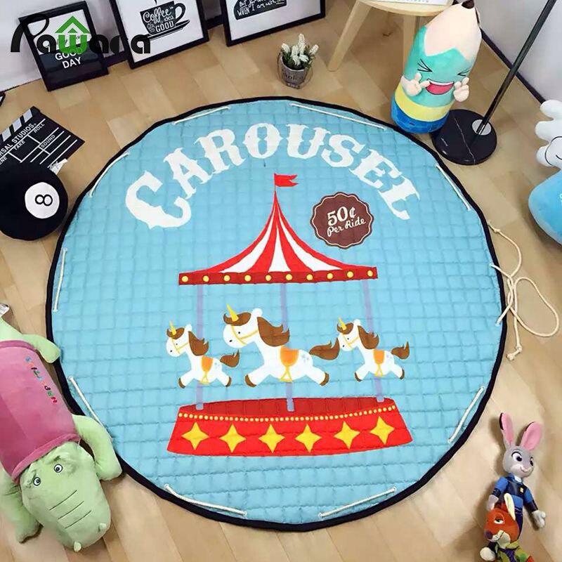 Enfants jouets sac de rangement salon doux bébé jouer jeu tapis couverture tapis multifonction coton sac de rangement rond grand 150 cm