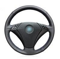 Black Artificial Leather Car Steering Wheel Cover for BMW 530 523 523li 525 520li 535 545i E60