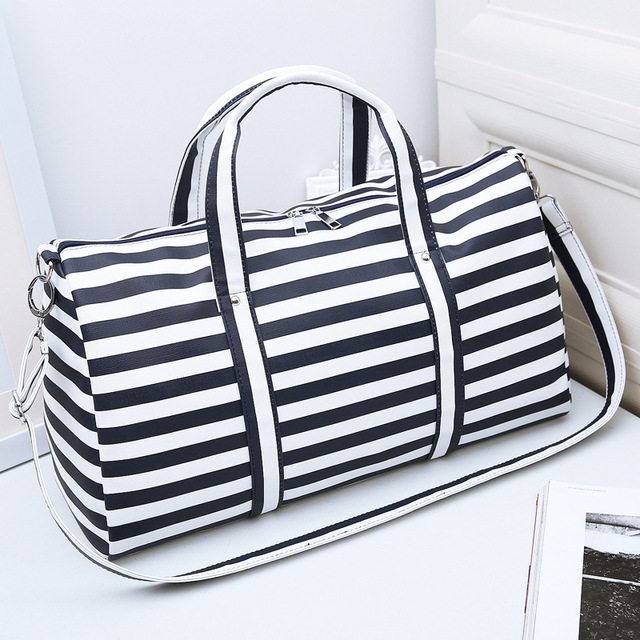 c9299cf1eb20 US $28.55 |2018 Women Travel Bags Men & Lady Striped Tote Shoulder Travel  Bag Portable Men Handbags Weekend Bag Women Waterproof Duffle Bag-in Travel  ...