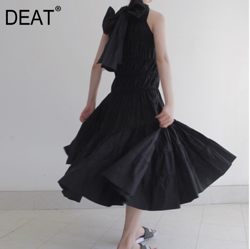 DEAT 2019 new stand collar summer fashion women clothes pelated high waist A line dresses sweet