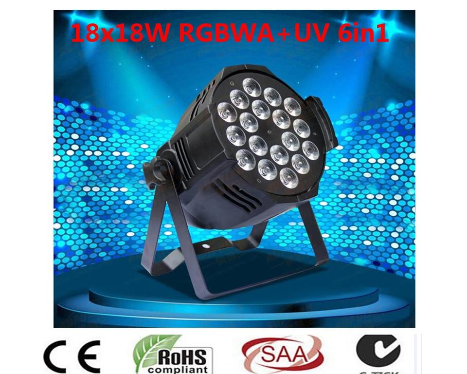 6 UNIDS DJ Par 6IN1 RGBWA UV 18X18 W LED Par Latas Latas de Grado Impermeable IP20 Aluminio Negro vivienda 90 V-240 V grado rs1e