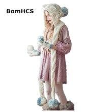 BomHCS/милый шарф и перчатки с кошачьими ушками(комплект из 2 предметов), теплые зимние шапки ручной работы, толстая вязаная шапка, рождественский подарок
