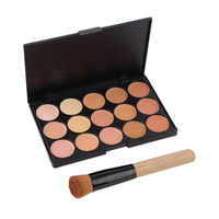 1 set make up tool set 15 Color Face Makeup Cosmetic Concealer Palette $ Wood Handle Flat Angled Brush kit Makeup Sets