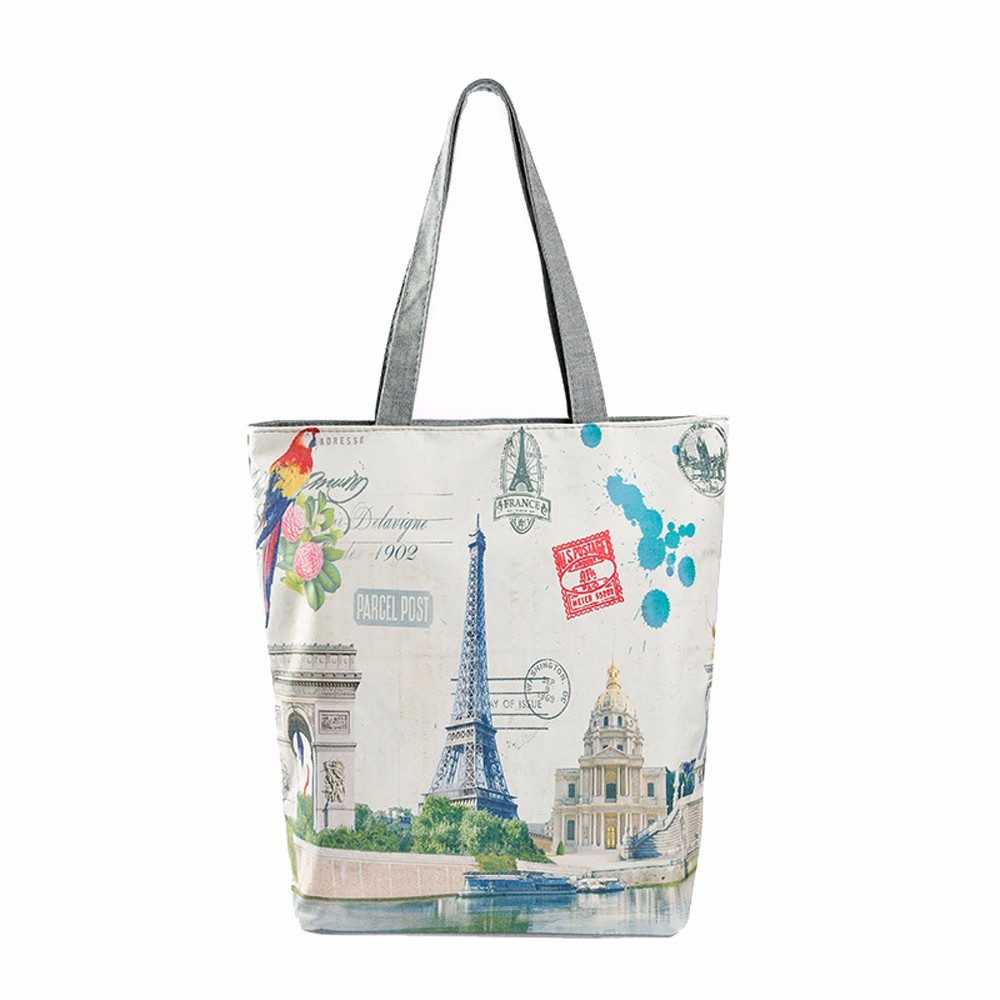 Women/'s Travel To Paris Canvas Tote Shopping Bag Beige