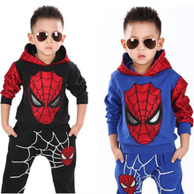2019 Autumn Spring Baby Boy Clothes Set Infant Cotton Hooded Cartoon Spiderman Suits Coat+Long Pants Fashion Kids Children Cloth цена
