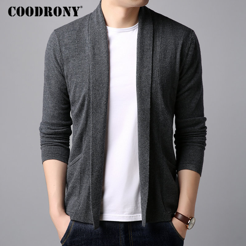 COODRONY Brand Sweater Men Streetwear Fashion Cardigan Men Pure Merino Wool Sweaters Autumn Winter Warm Cashmere Cardigans 93017