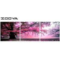 ZOOYA DIY Full Diamond Embroidery Painting Cross Stitch Triptych Paintings Diamond Mosaic Landscape Tree Wall Sticker