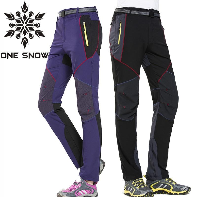 ФОТО ONE SNOW Outdoor Sports Men Women Hiking Pants Waterproof Quick-drying Breathable Fishing Climbing Pants Unisex Trekking Pants