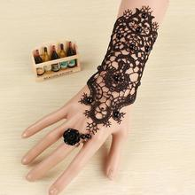 New arrival Elegance Simulated Pears Elements Black Lace Bracelet / Fashion Cheap Lace Gloves For Black Dress