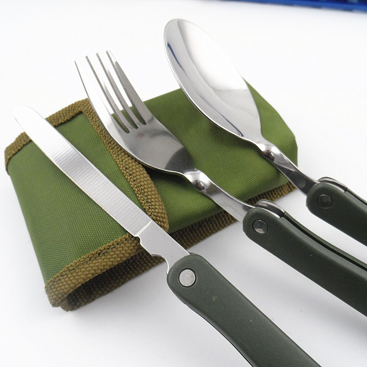 New Camping Dishes Titanium Camping Cookware Folding Knife