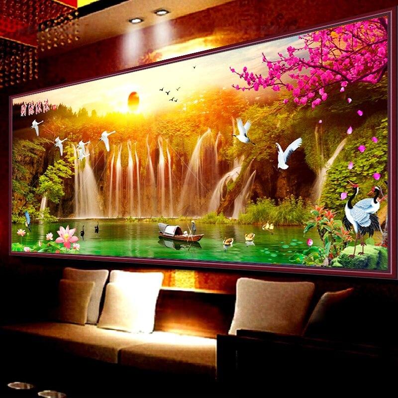 Oriental Sunrise Waterfall Mountain Scenery Diy Diy
